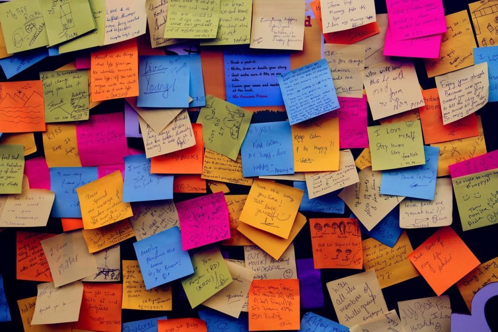 Bulletin boards, post it notes, visual overload!
